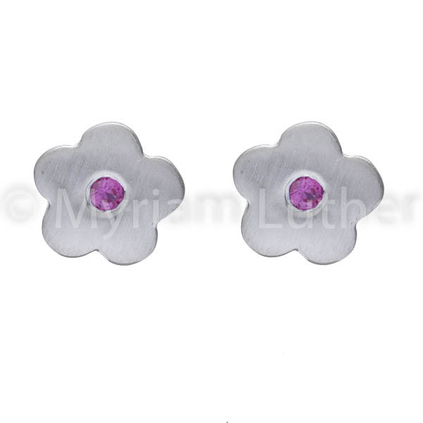 Kinder Ohrstecker Blumen m. Zirkonia pink kristall 925 Silber rhodiniert