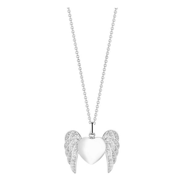 Damen Halskette Silber mit Anhaenger Herz mit Flügeln und Zirkonia ST901 by Nana Kay