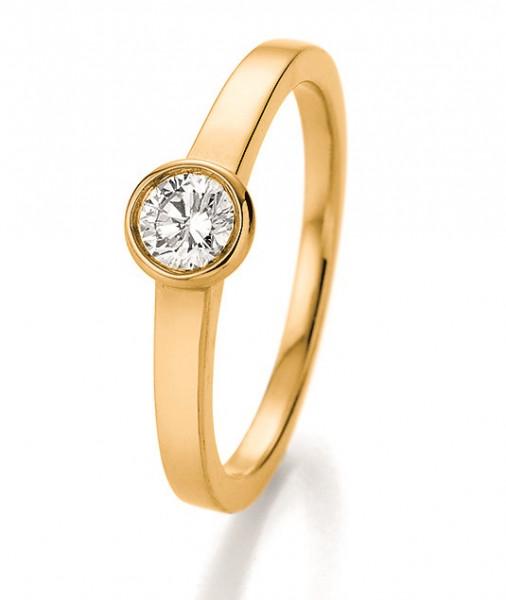 Verlobungsring 585 Gold - 0,33 Karat Brillant in Zargenfassung