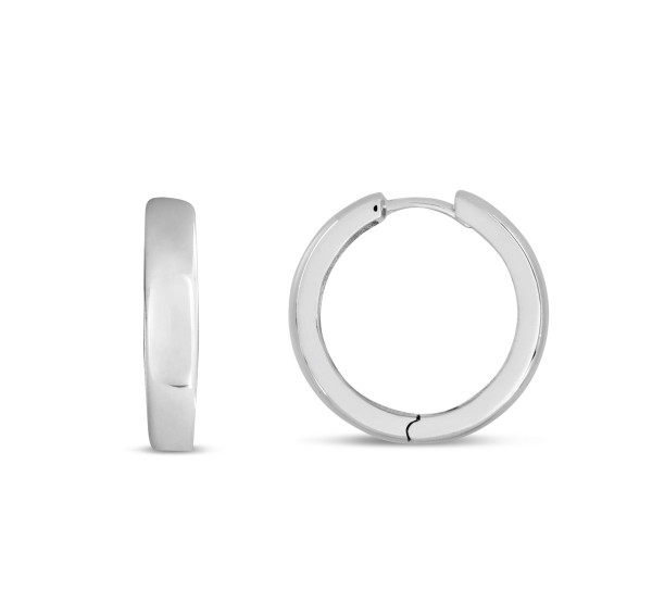 Creolen 925 Silber poliert abgerundet 20 x 4 mm