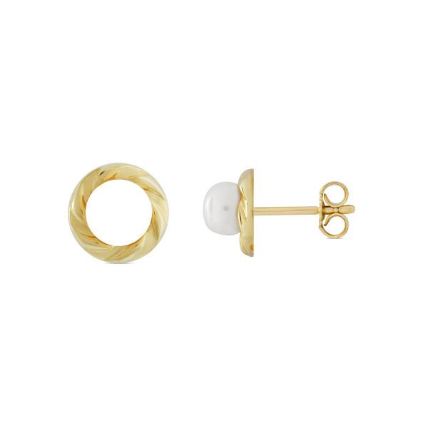 Ohrstecker Perle mit Goldrand ca. 9 mm 333 Gold