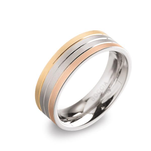 "Damenring aus Titan ""Tinity"" teil-gold/roseplattiert - BOCCIA"