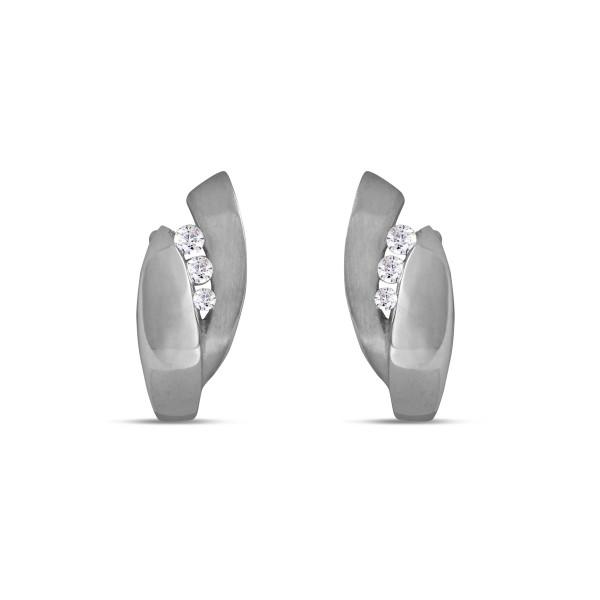 Creolen 925 Silber navetten Form mit Zirkonia