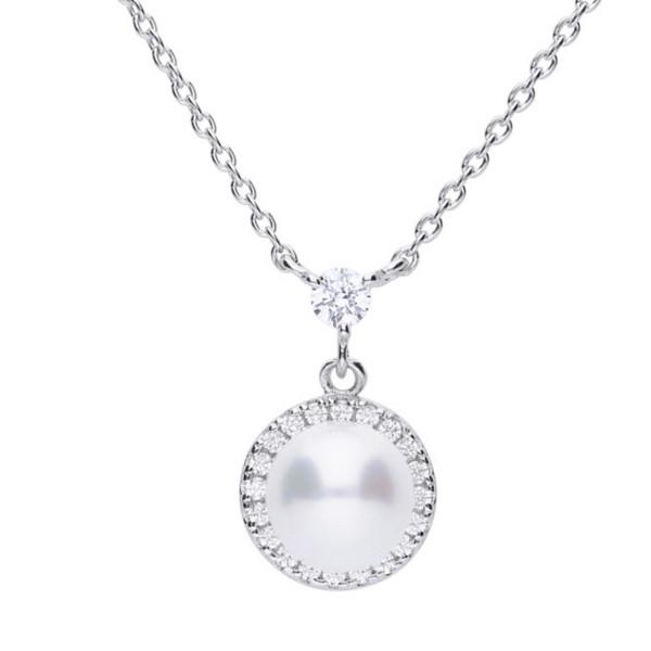 Perlenkette Collier Perlen mit Silber Diamonfire PEARLS