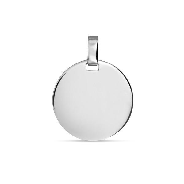 Gravur Anhänger 925 Silber glänzend poliert Gravurplatte rund 18 mm Durchm.