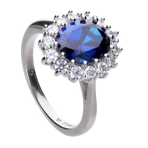 Damenring Silber Zirkonia royalblau / weiß Diamonfire