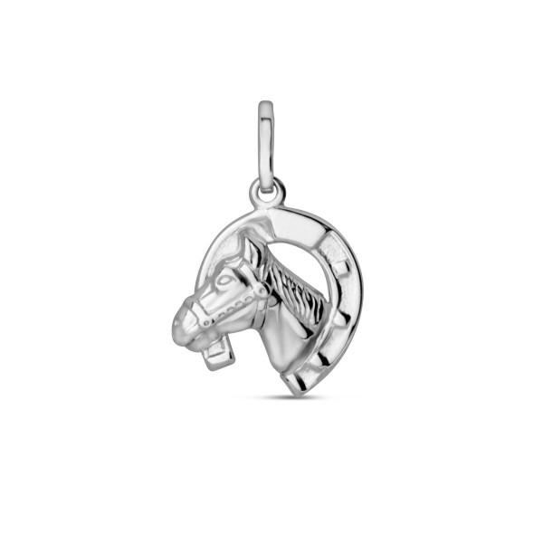 Kinder Anhänger 925 Silber Hufeisen mit Pferdekopf
