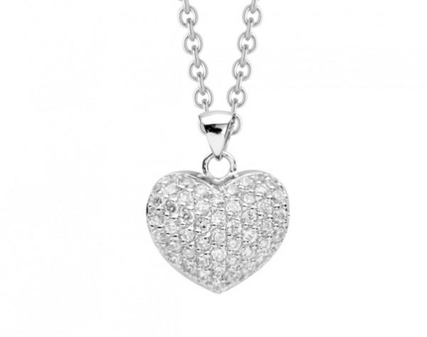 Halskette gefüllter Herz Anhänger mit Zirkonia - Nana Kay