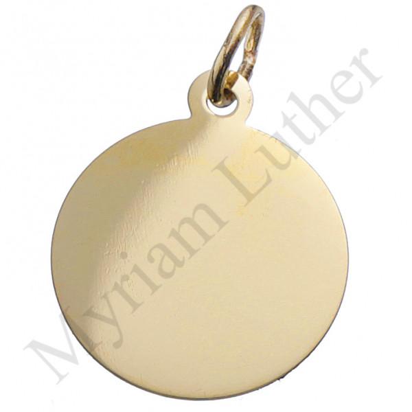 Freundschaftsanhänger Gravurplatte Kreis ca. 16 mm Durchmesser 333 Gold Anhänger