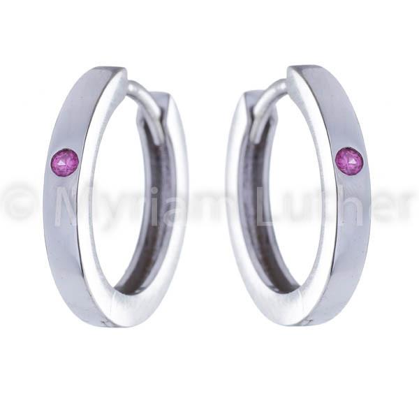 Kinder Ohrringe mit Zirkonia pink kristall 925 Silber rhodiniert