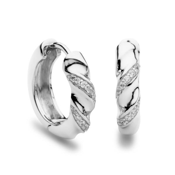Creolen Sparkling Twist mit Zirkonia Steinen - Silver Trends