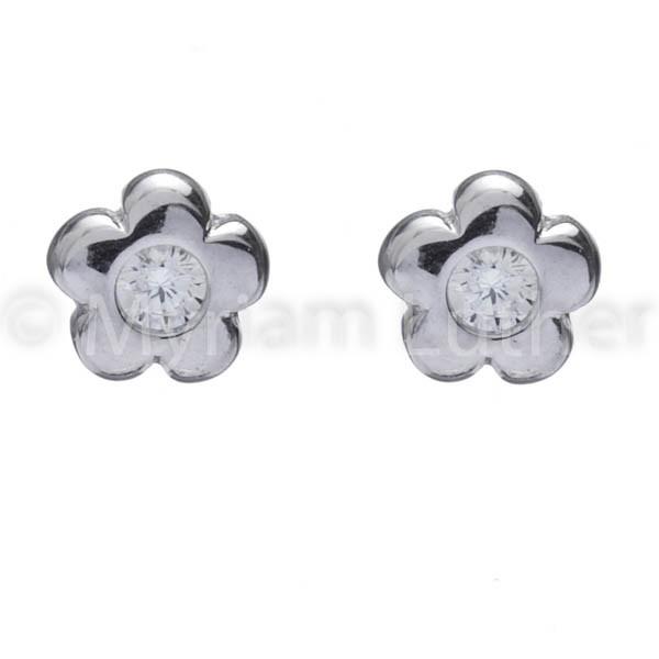 Blumen Ohrstecker m. Zirkonia kristall/weiss für Kinder 925 Silber rhodiniert
