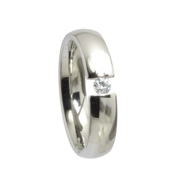 Edelstahl Ring Freundschaftsring Damenring Zirkonia Spannfassung, abgerundete Form, poliert glänzend