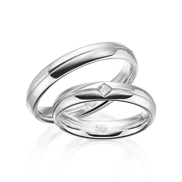 Trauringe 333 Weissgold Eheringe Hochzeitsringe RU-1611-4-333WG