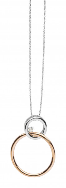Damenkette Anhänger Swinging Silver Coll. silber rotgoldfarben mit Zirkonia Silver Trends