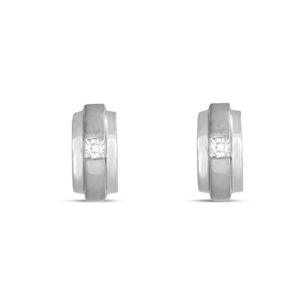 Creolen 925 Silber auf der Front mit quadratischem Zirkonia