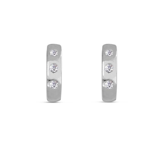 Creolen 925 Silber mit drei runden Zirkinia - Steinen