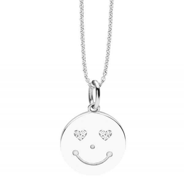 Halskette Silber mit Smiley Anhänger - Nana Kay