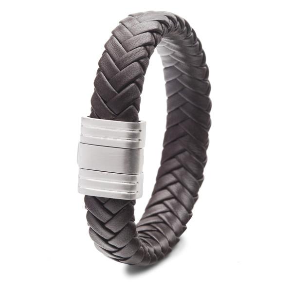 Herren Armband aus geflochtenem Leder braun