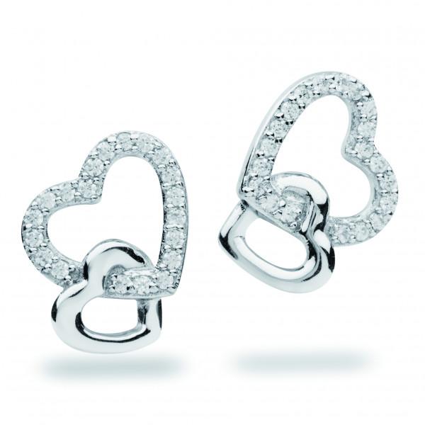 Ohrstecker einhängendes Doppelherz Silber - Silver Trends