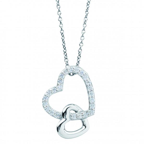 Halskette mit Anhänger zwei Herzen teils Zirkonia - Nana Kay