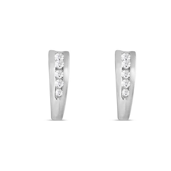 Creolen 925 Silber gespalten für Zirkonia-Steine