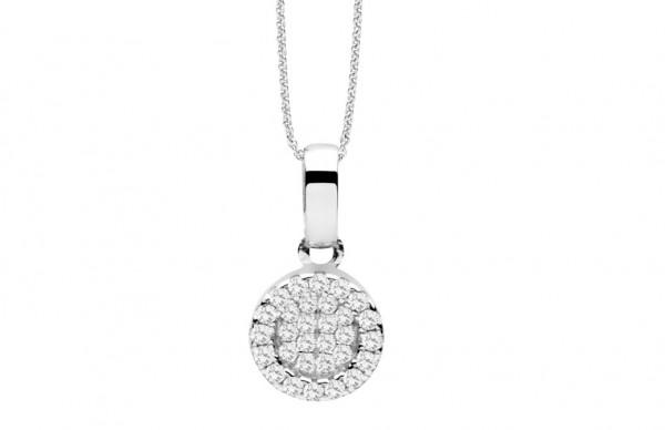 Kreisanhänger Zirkonia mit Halskette SIlber Silver Trends