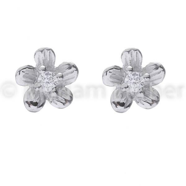 Kinder Ohrstecker Blumen m. Zirkonia weiss kristall 925 Silber rhodiniert