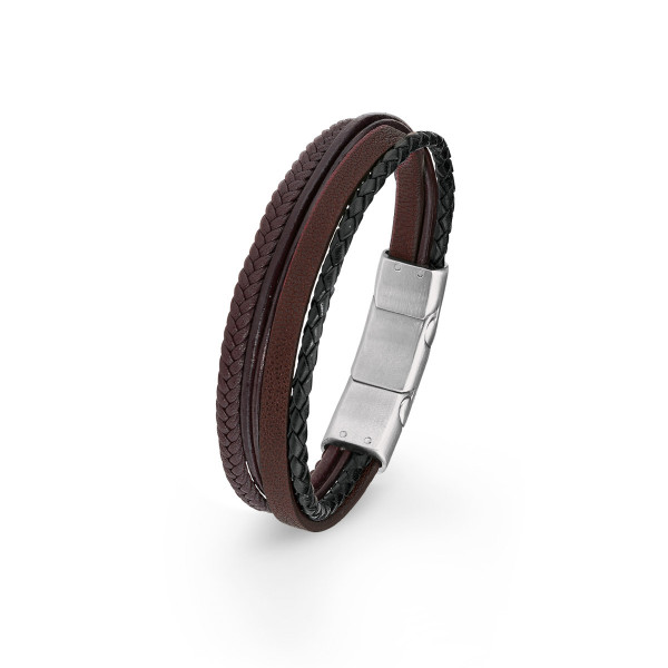 Armband Herren Leder schwarz braun s.Oliver