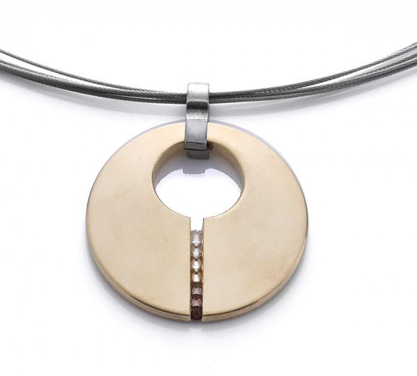 Halskette mit Anhänger rund goldfarben, Zirkonia Reihe