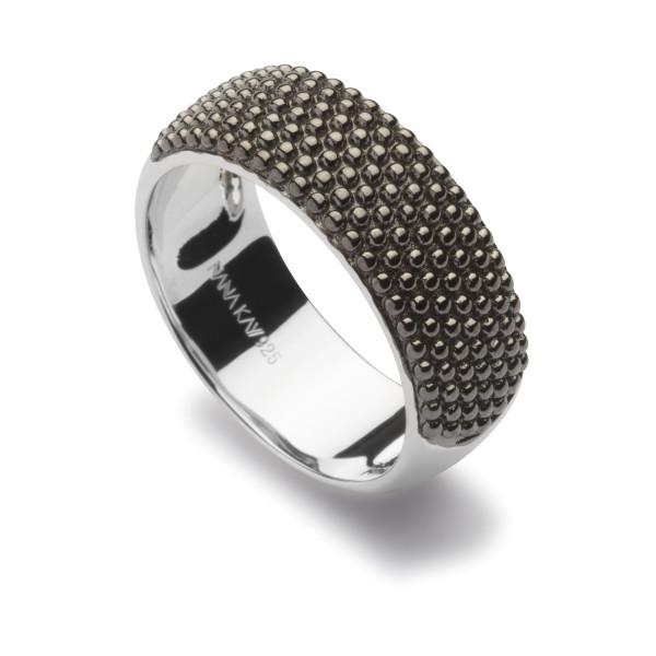Damen Ring Silber mit schwarzer Struktur