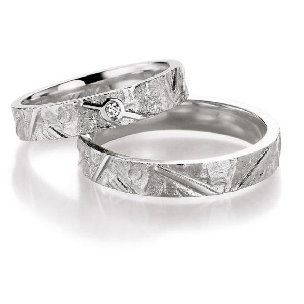 Freundschaftsringe schmal 4,20 mm breit mit starker Struktur 925 Silber