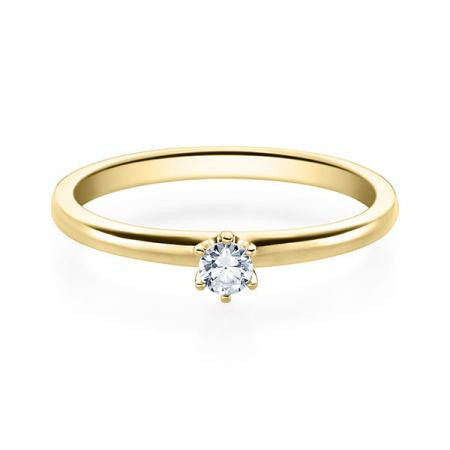Verlobungsring 585 Gold 0,10 Karat - Brillant in Krönchenfassung
