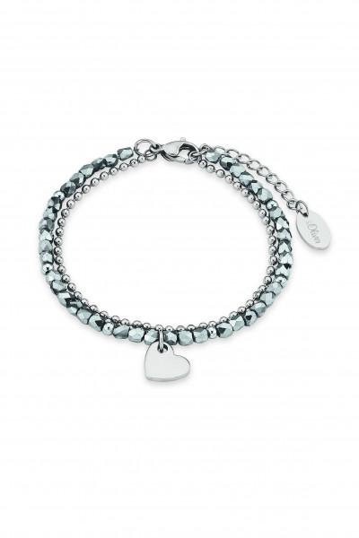 Armkette Damen Edelstahl mit grauen Kristallen und Herz s.Oliver