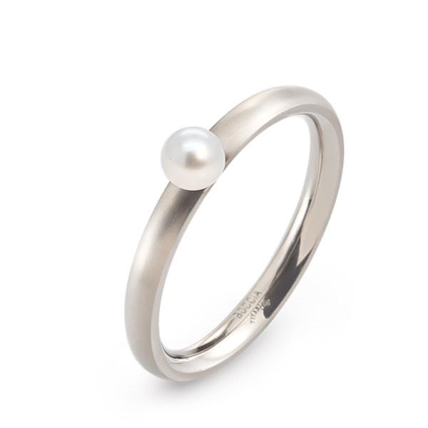 Titan Ring matt abgerundete Form 2,5 mm mit einer Süßwasser-Zuchtperle von BOCCIA-Titanium