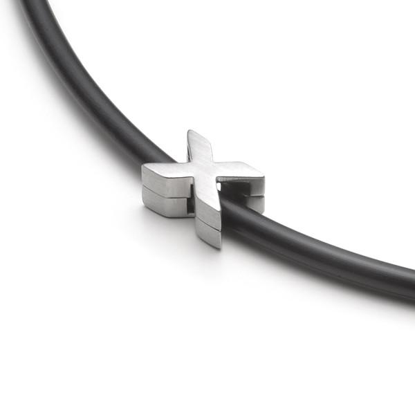 Herren Halskette Kautschuk-Silikon X Anhänger MONOMANIA