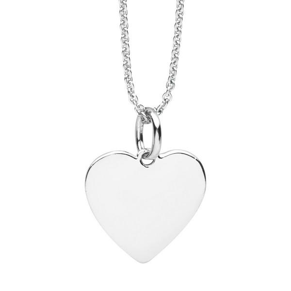 Anhaenger Gravurplatte Herz 925 Silber rhodiniert von Nana Kay incl. Kette