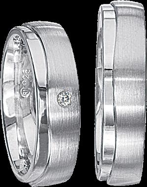 Freundschaftsringe 925 Silber mit echten Brillanten S62