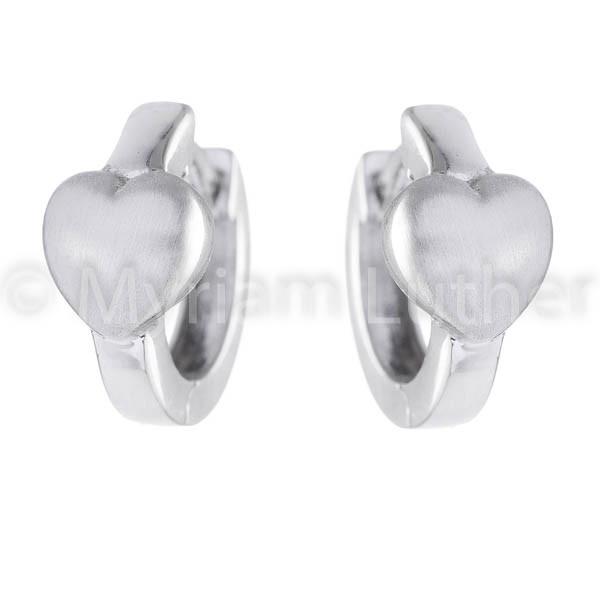 Kinder Ohrringe Herz 925 Silber rhodiniert