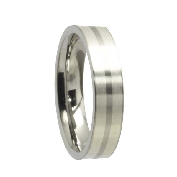 Edelstahlring Freundschaftsring 5 mm gerade mit Silberstreifen